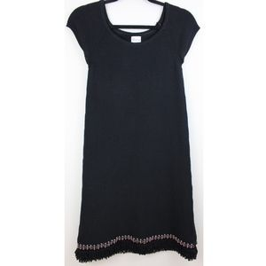 RED Valentino Black Knit Embellished Hem Dress
